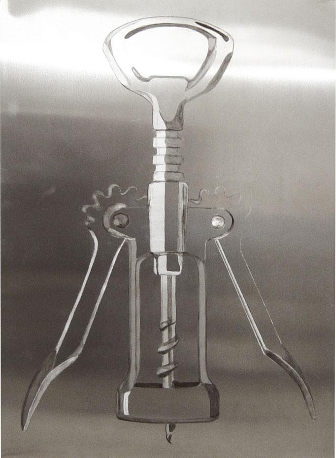 """o.T"", 2007, 50x70cm, Aluminium geschliffen, Transparentfarbe"