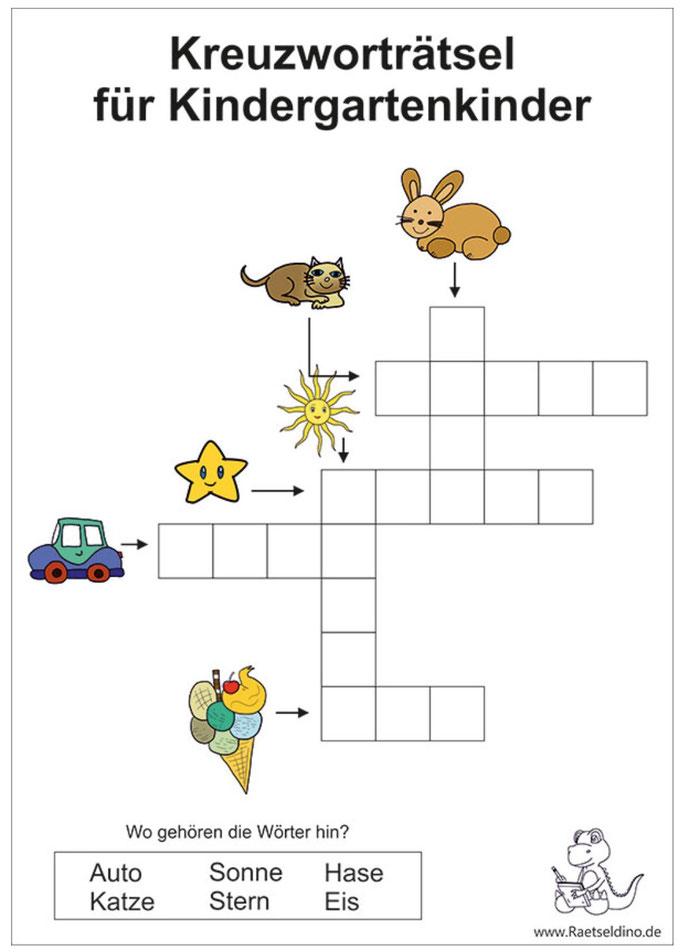 Kinderkreuzworträtsel mit Lösung zum gratis Ausdrucken