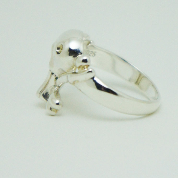 funny skull ring material : sv 925 color : White Porished size : 17mm x 17mm x 5mm