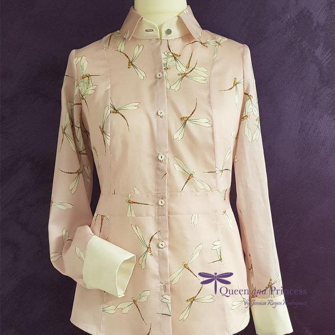 nachhaltige Mode, rosa Basicbluse mit Libellen 139,-€