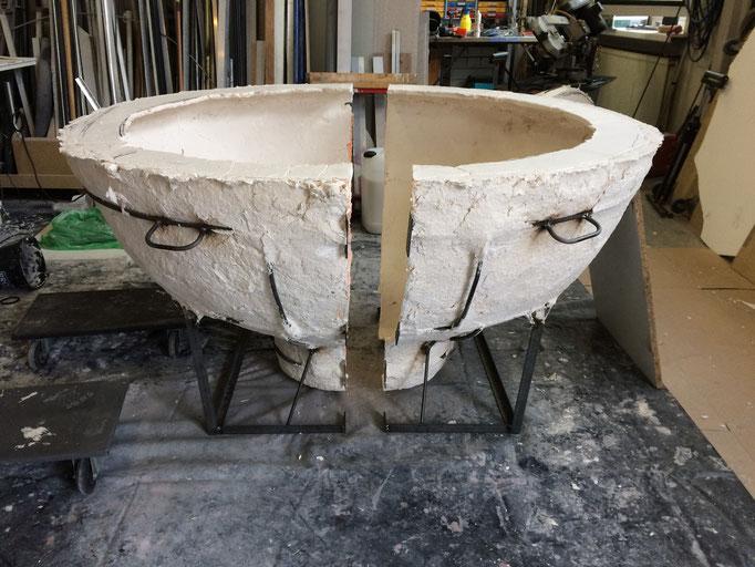 die offene Stützform für den Keramikguss