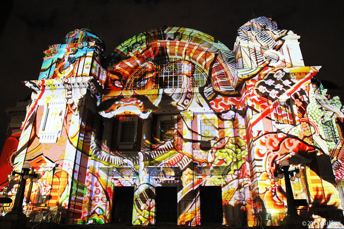 ねぶた(過去のハイライト/大阪市中央公会堂プロジェクションマッピング2015より)