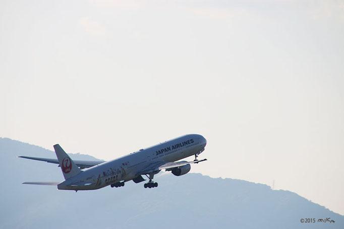 『JAL FLY to 2020 特別塗装機』離陸(2015年10月18日15時前頃)