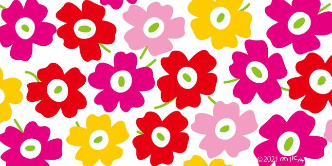 赤×ピンク×黄色×背景白(横長)