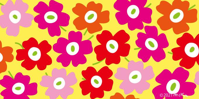 赤×ピンク×オレンジ×背景黄色(横長)