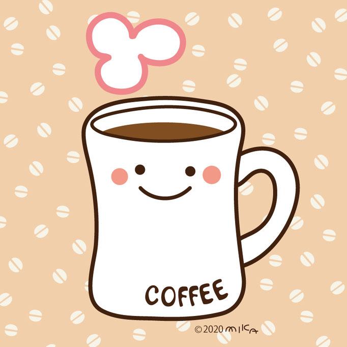 マグカップ(背景コーヒー豆)