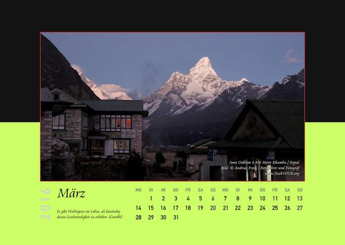 Khumjung mit Ama Dablam, Kalenderblatt März, Bild: Bergführer & Fotograf Andreas Frech