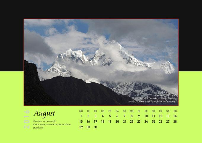 Kangtega, Tamserku, Kalenderblatt August, Bild: Bergführer & Fotograf Andreas Frech