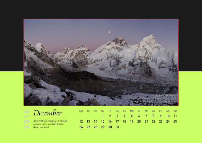 Panorama Khumbu mit Mount Everest, Kalenderblatt Dezember, Bild: Bergführer & Fotograf Andreas Frech