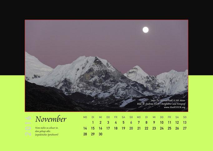Imja Tse (Island Peak), Kalenderblatt November, Bild: Bergführer & Fotograf Andreas Frech