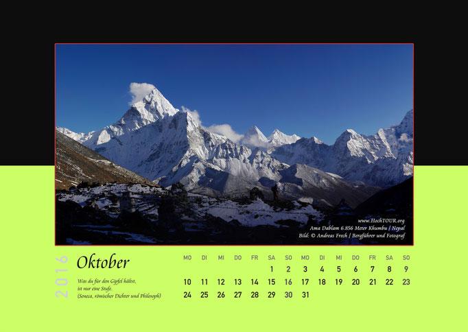 Ama Dablam, Kalenderblatt Oktober, Bild: Bergführer & Fotograf Andreas Frech