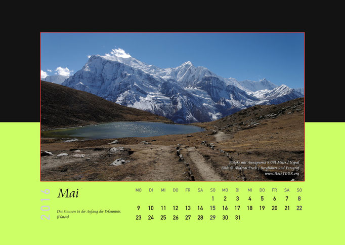 Eislake mit Annapurna, Kalenderblatt Mai, Bild: Bergführer & Fotograf Andreas Frech