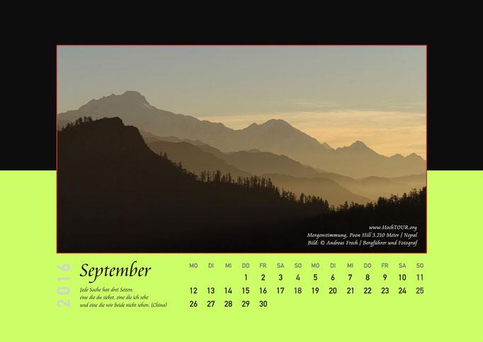 Panorama Poonhill, Kalenderblatt September, Bild: Bergführer & Fotograf Andreas Frech