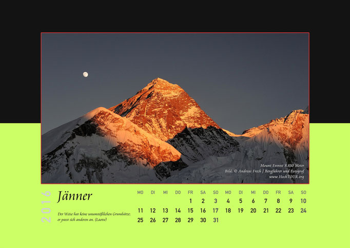 Mount Everest, Kalenderblatt Jänner, Bild: Bergführer & Fotograf Andreas Frech
