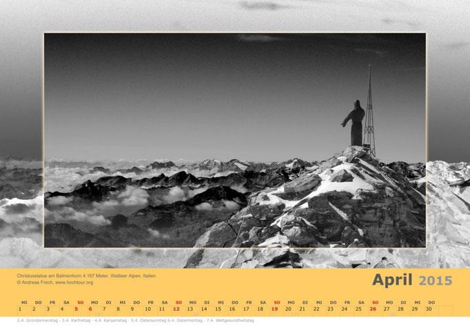 Balmenhorn mit Christusstatue, Walliser Alpen, Italien, Bild© Bergführer & Fotograf Andreas Frech