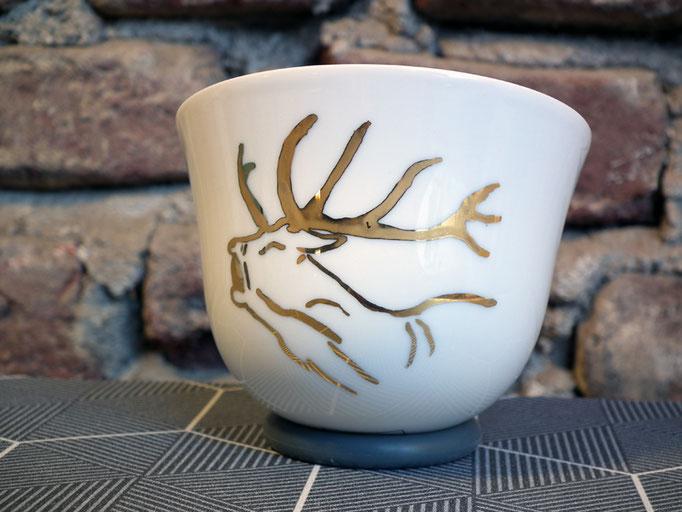 Teeschale Hirsch Porzellan handbemalt