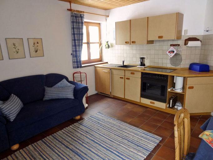 Blick in die Wohnküche der Ferienwohnung Meir