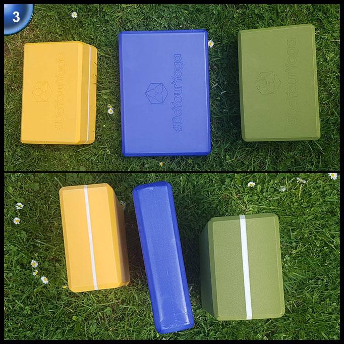 Yogablock »Damodar« - blau flach - aus gehärtetem Schaumstoff (Hartschaum) für eine Vielzahl an Yogaübungen / Asanas: Gesamtgewicht liegt bei ca.180g (schön leicht) / Größe 28cm x 20cm x 5cm