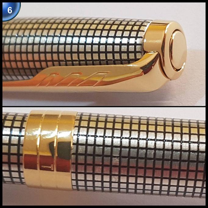 Parker Sonnet Chiselled Silver Kugelschreiber (mittlere Schreibspitze) aus feinstem Sterlingsilber mit Ziselierungen und gold-beschichteten Zierteilen - in attraktiver Geschenkbox