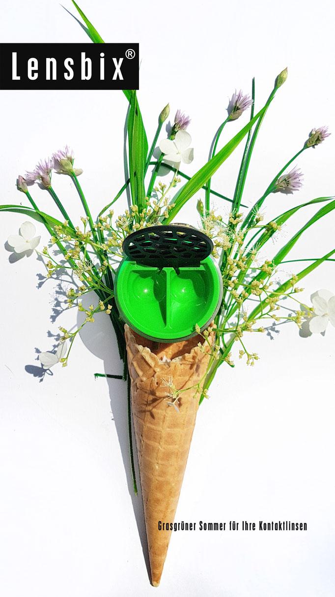 Lensbix cool summer Kontaktlinsenbehälter grün