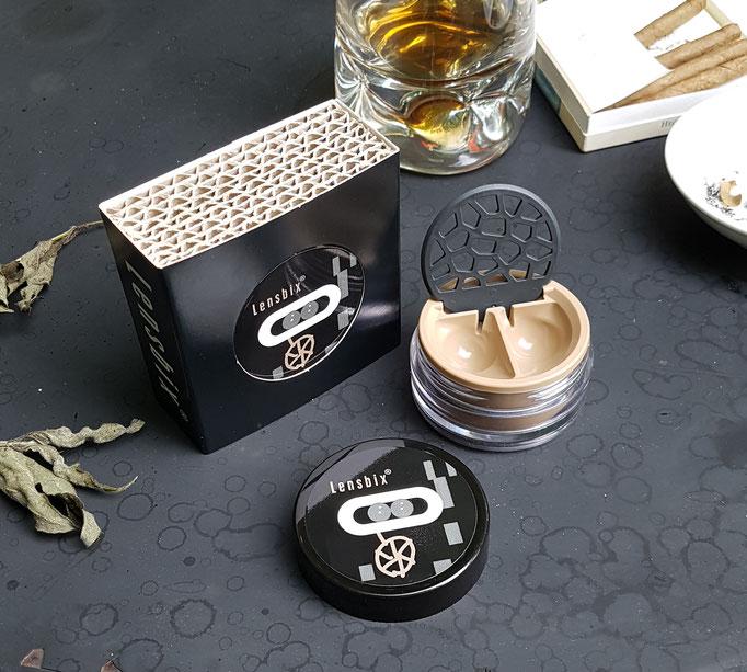 Lensbix mood - Geschenkidee für Coole, Dandys und Kontaktlinsenträger! / Kontaktlinsenbehälter / Kontaktlinsenbox / Behälter für  Kontaktlinsenaufbewahrung  in Geschenkverpackung