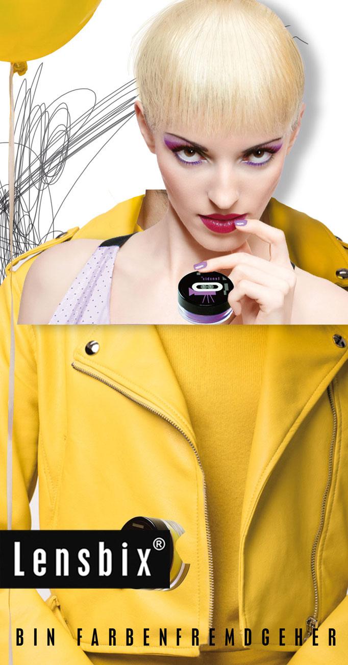 Lensbix Cult Club - lila Typ wählt einfach senfgelb - Teile unsere Leidenschaft. Gehe farbenfremd, wann immer dir danach ist! Sei nicht wie alle anderen!/ Kontaktlinsenbehälter / Kontaktlinsenbox / Behälte für Kontaktlinsenpflege / Kontaktlinsendose