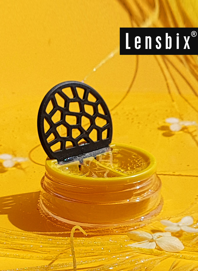 Lensbix mood - Sonnengelbe Geschenkidee für Kontaktlinsenträger / Kontaktlinsenbehälter / Kontaktlinsenbox / Behälter für  Kontaktlinsenaufbewahrung  in Geschenkverpackung