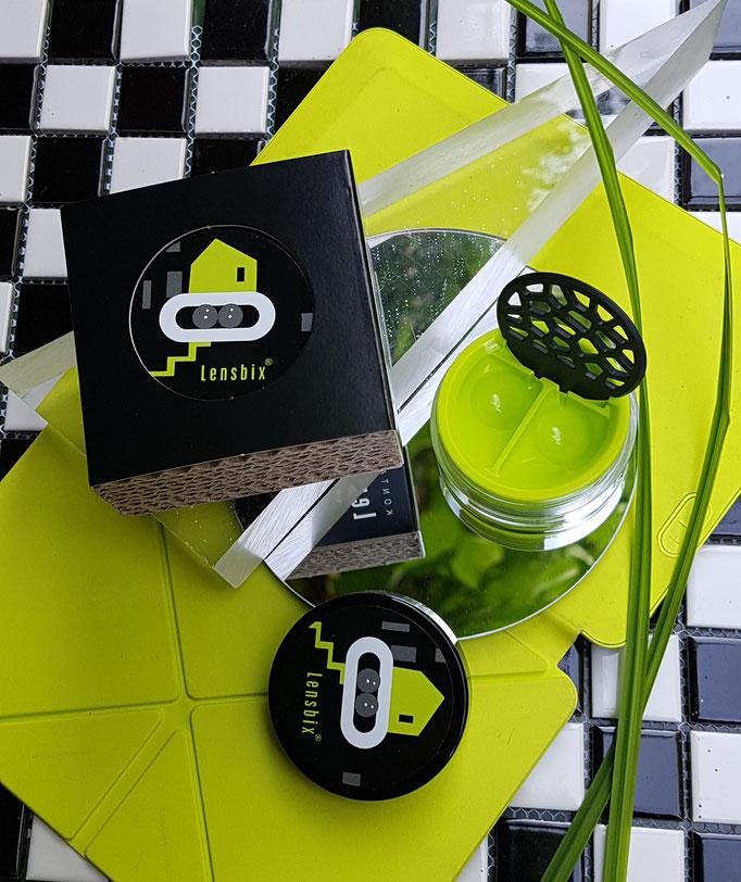 Lensbix mood -Geschenkidee für den futuristischen Kontaktlinsenträger  / Kontaktlinsenbehälter / Kontaktlinsenbox / Behälter für  Kontaktlinsenaufbewahrung  in Geschenkverpackung
