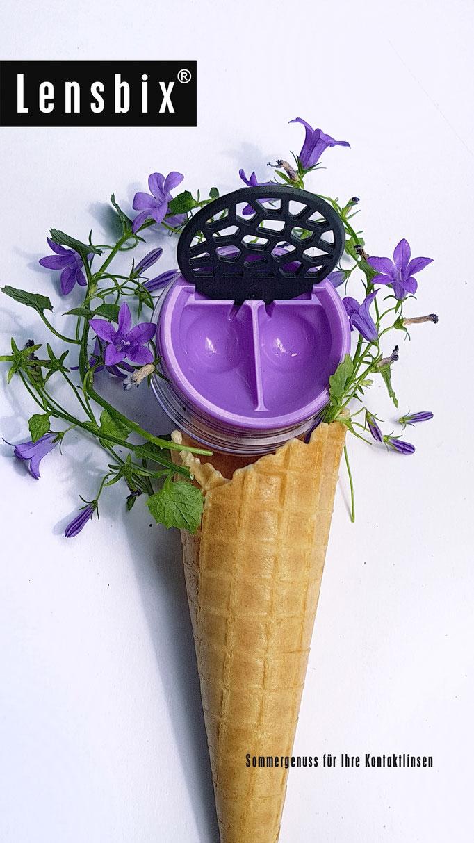 Lensbix cool summer Kontaktlinsenbehälter lila
