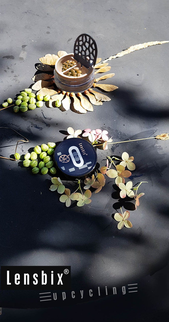 lensbix upcycling -  Dose zum Samen sammeln im Herbst   /  Kontaktlinsenbehälter / Kontaktlinsenbox / Box für Kontaktlinsenaufbewahrung  / Kontaktlinsendose / Kontaktlinsen-behaelter