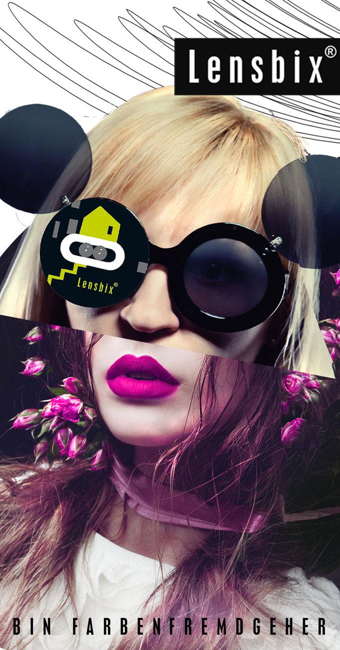 Lensbix Cult Club - kiwi Typ wählt einfach pink - Teile unsere Leidenschaft. Gehe farbenfremd, wann immer dir danach ist! Sei nicht wie alle anderen! / Kontaktlinsenbehälter / -box / Behälter für Kontaktlinsen