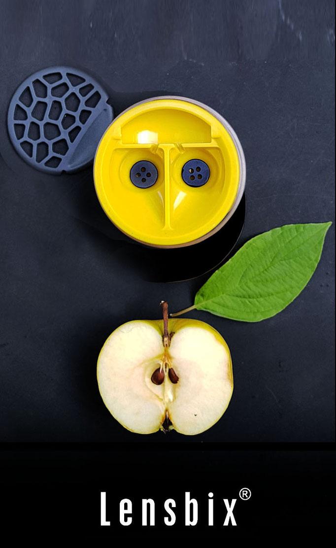 Lensbix zweimal hinsehen - die halbe Frucht neu interpretiert. Das Blatt bis zur Struktur gerundet reduziert. #Produktdesign für das Auge, den Sinn verdoppelt - nicht halbiert!/ #Kontaktlinsenbehälter / Kontaktlinsenbox / Box für Kontaktlinsenaufbewahrung