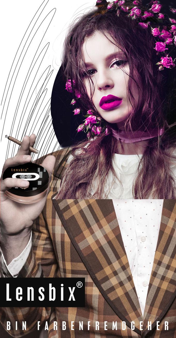 Lensbix Cult Club - pink Typ wählt einfach cappuccino - Gehe farbenfremd!  Teile die Leidenschaft, sei nicht wie alle anderen!/ Kontaktlinsenbehälter / Kontaktlinsenbox / Behälter für Kontaktlinsenaufbewahrung /