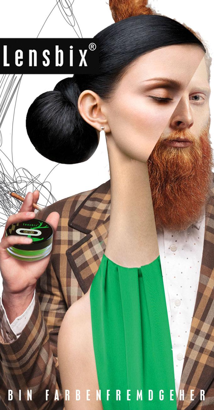 Lensbix  Cult Club - grün Typ wählt einfach cappuccino - Teile unsere Leidenschaft. Gehe farbenfremd, wann immer dir danach ist! Sei nicht wie alle anderen! / Kontaktlinsenbehälter / Kontaktlinsenbox / Behälter für Kontaktlinsenaufbewahrung /