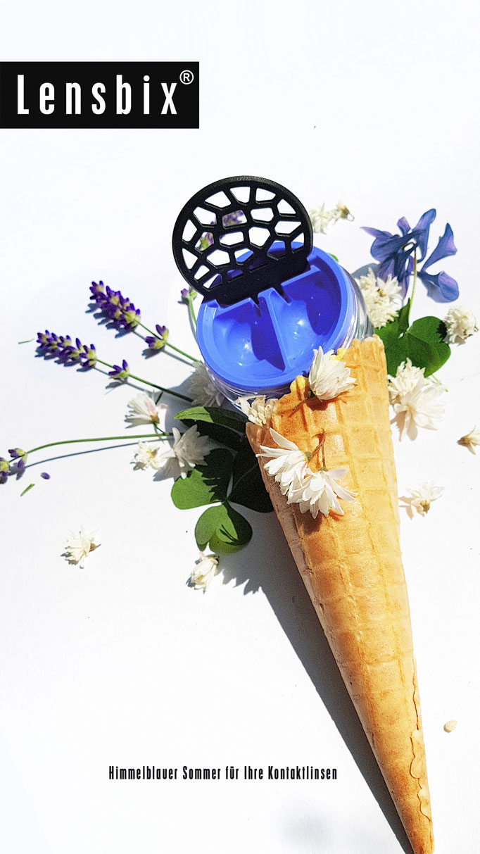 Lensbix cool summer Kontaktlinsenbehälter blau