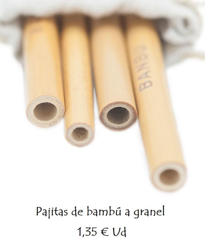 Pajitas reutilizables de bambú largas