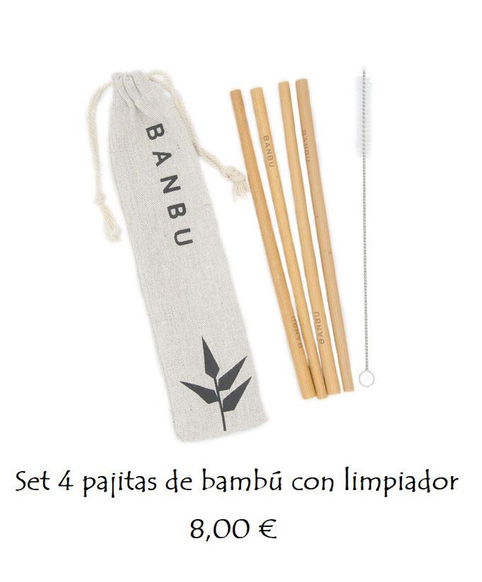 Set pajitas reutilizables bambú