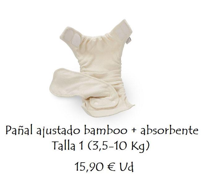 Pañal ajustado bambú + absorbente Talla 1