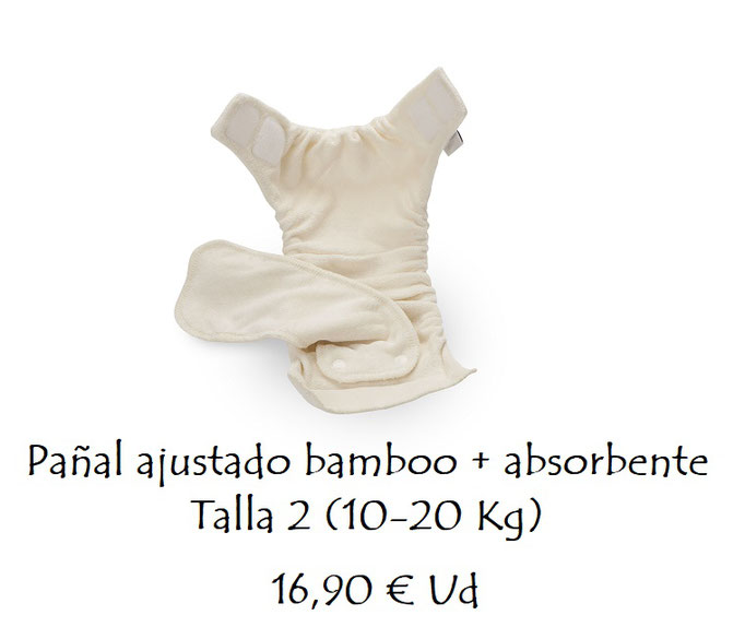 Pañal ajustado bambú + absorbente Talla 2