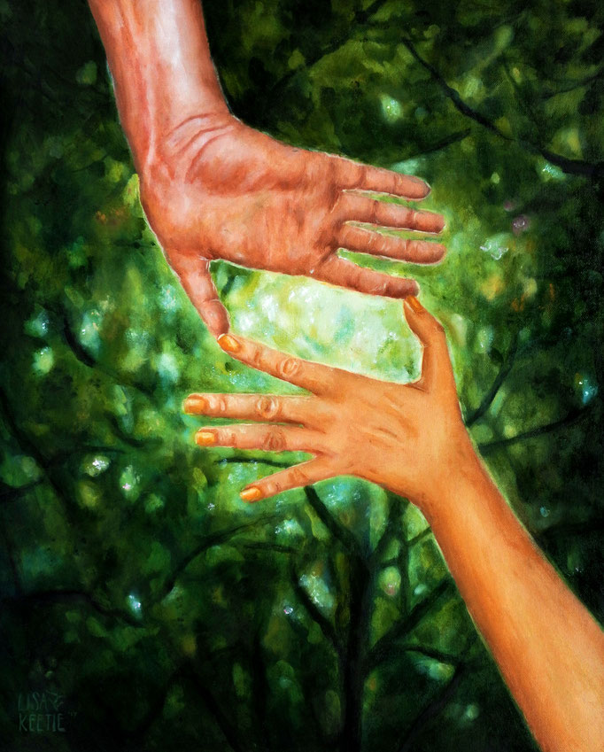 'How we often need someone to help us find the light' oils on panel (2017)