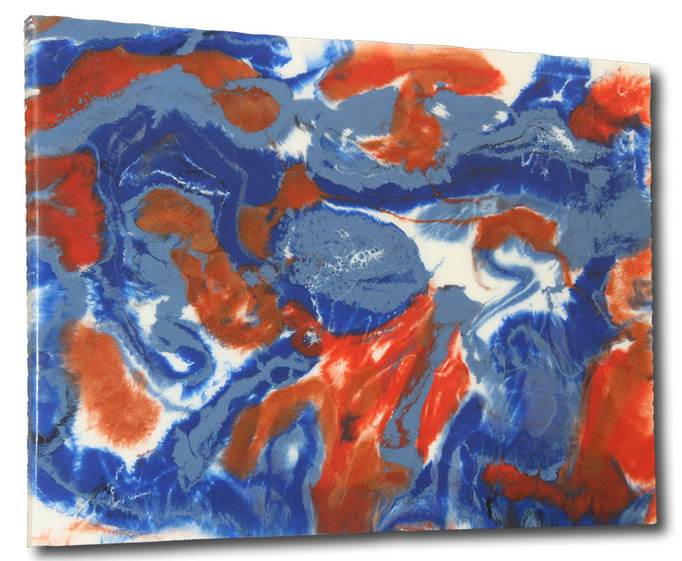 """Red 'n Blue"" Resin Painting by Michael Stowasser"