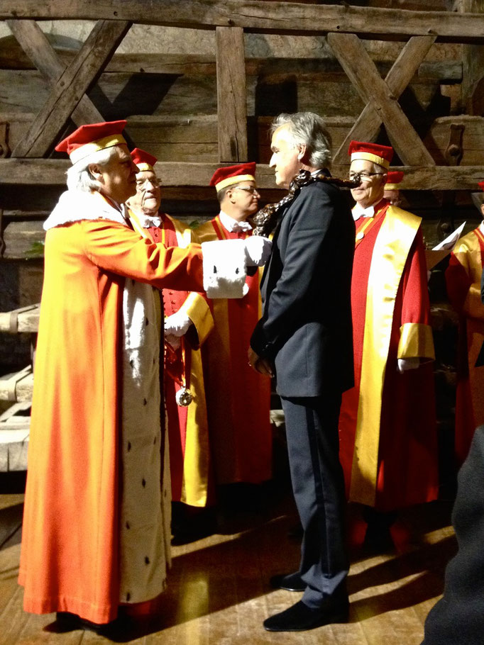 Zsolt E. Lavotha being inducted as Chevalier du Tastevin at the Chateau Clos de Vougeot in Burgundy
