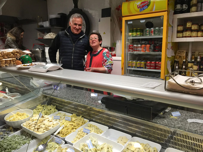 Zsolt and Janine at Pasta stand