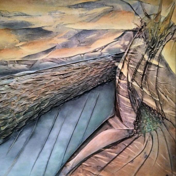 Cresco  |  Malerei & Smoktechnik auf Leinwand |  100 x 100  |  1550,-