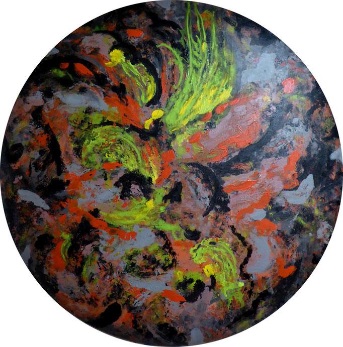 abstrakte Komposition, 2017. Acryl und Siebdrucktinte auf gepolstertem Leinwandtondo, 80cm © Christian Benz