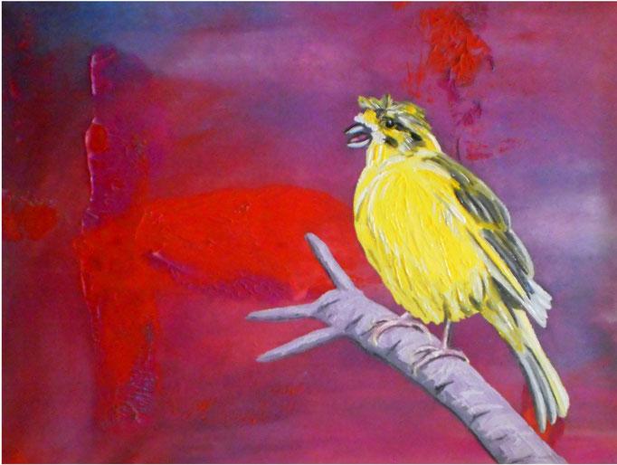 Variation auf Kippenbergers Birds, 2010. Öl auf gepolsterter Leinwand, 30x40cm © Christian Benz