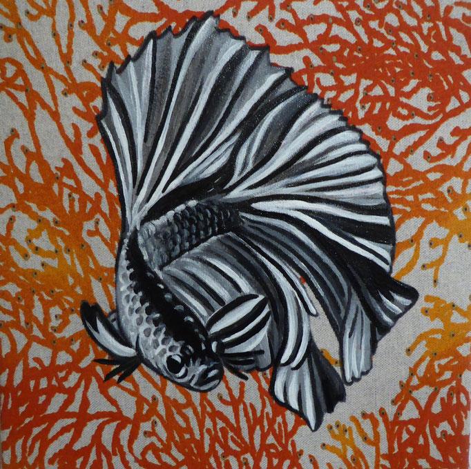 Kämpferischer Fisch, 2019. Acryl auf mit Stoffprint bespannter Leinwand, 50x60cm  © Christian Benz