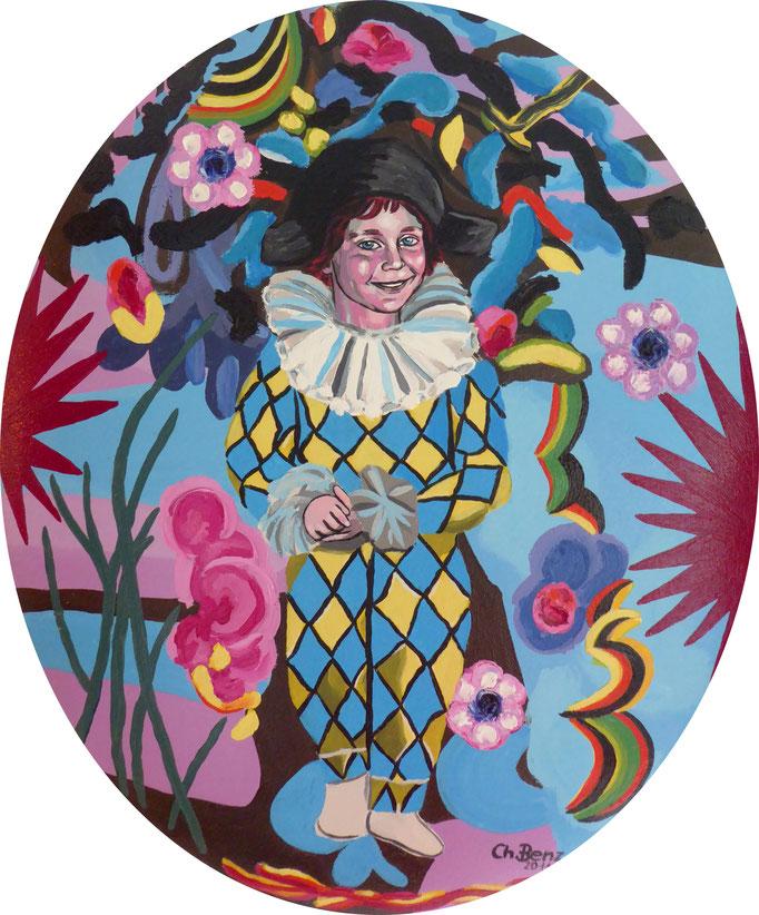 Mein Neffe im Picasso-Gewand, 2011 . Mischtechnik auf geposterter ovaler Leinwand, 50x40cm © Christian Benz