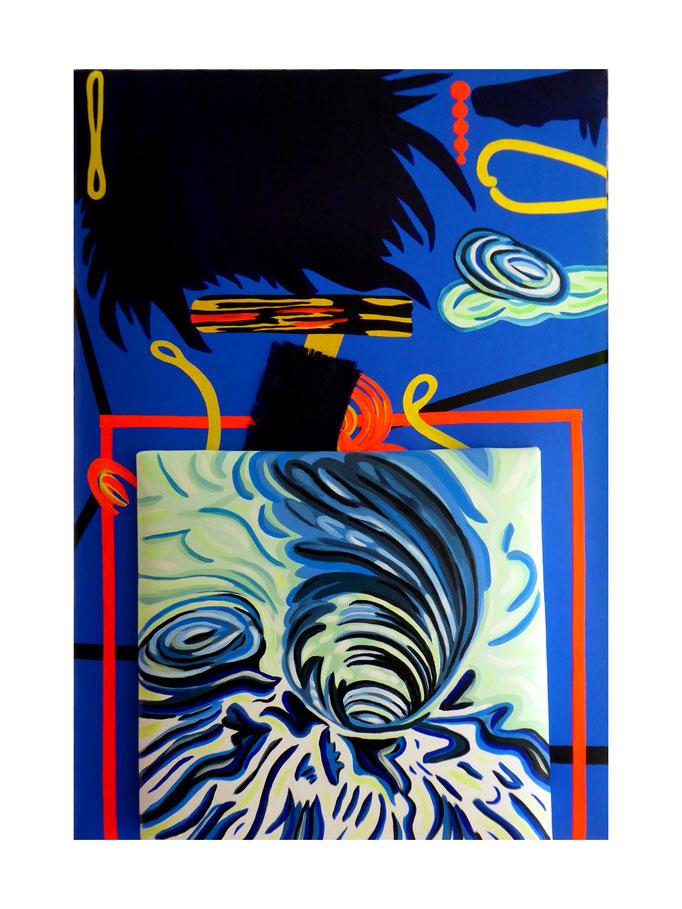 """Collage """"Rhein"""", 2021. Acryl und Siebdrucktinte auf zwei gepolsterten Leinwänden, 70x100 und 50x50 cm © Christian Benz"""