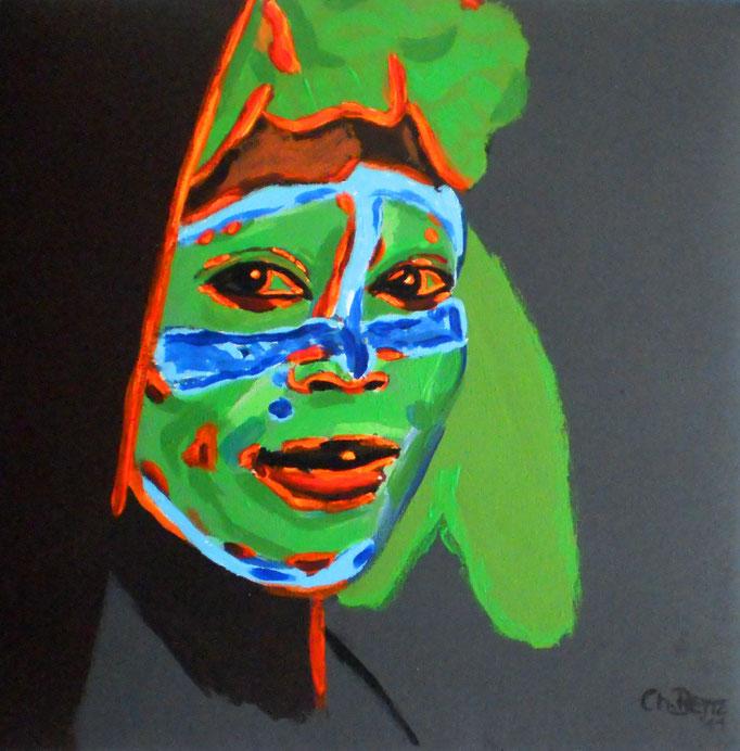 Junge Frau aus dem Omo-Tal, 2011. Acryl auf gepolsterter Leinwand 30x30cm © Christian Benz